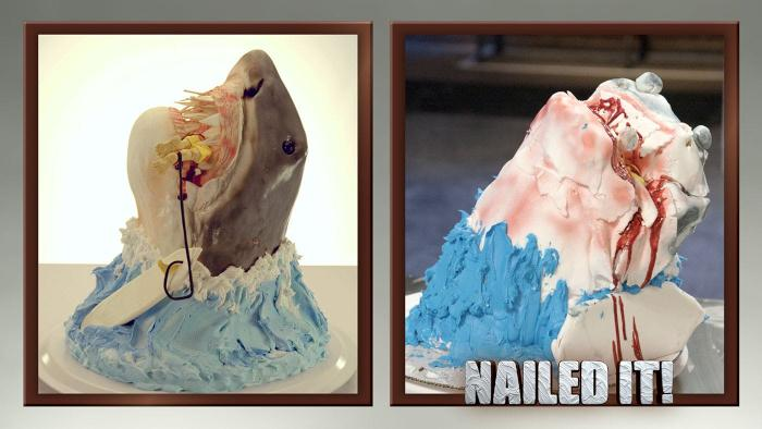 A cake in the shape of a shark next to a terrible recreation of that cake with the words Nailed It!