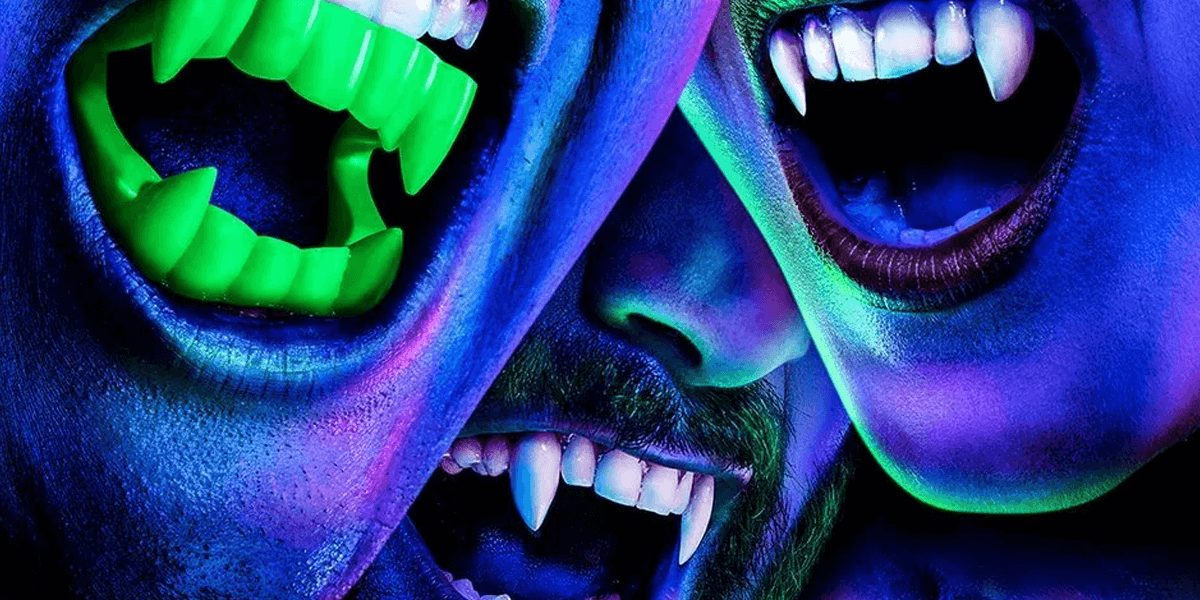 A close-up of three vampires' mouths and teeth from the TV show What We Do in the Shadows